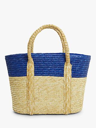 John Lewis & Partners Ava Raffia Colour Block Bag