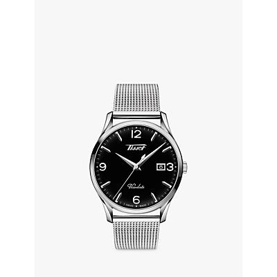 Tissot T1184101105700 Unisex Visodate Date Bracelet Strap Watch, Silver/Black