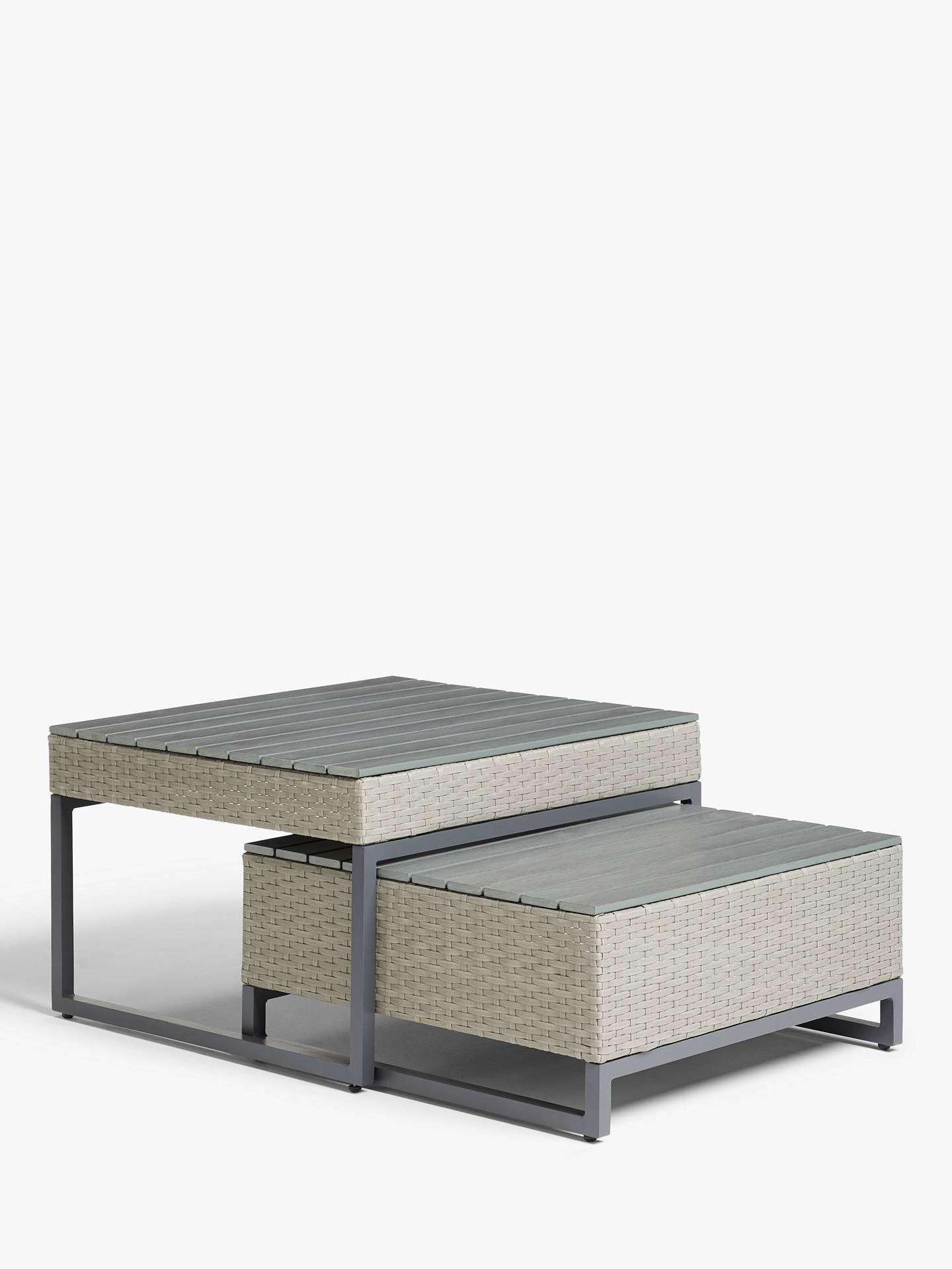 john lewis partners valencia garden high low coffee tables set of 2 light grey