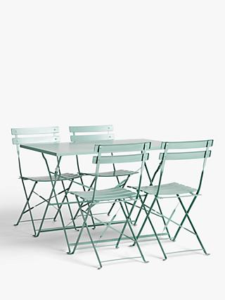John Lewis & Partners Camden Garden 4-Seat Table & Chairs Set, Dusty Green