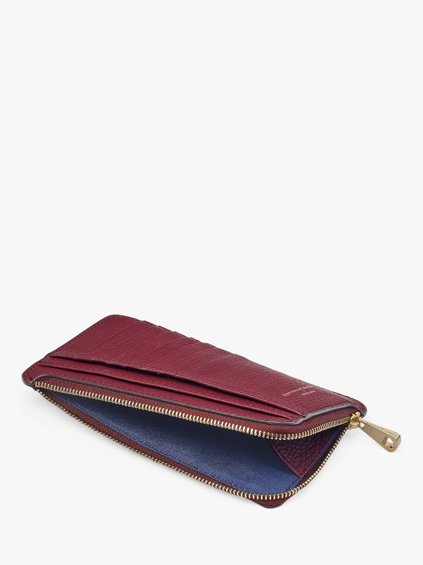 BuyAspinal of London Leather Large Zipped Coin Purse, Bordeaux Online at johnlewis.com