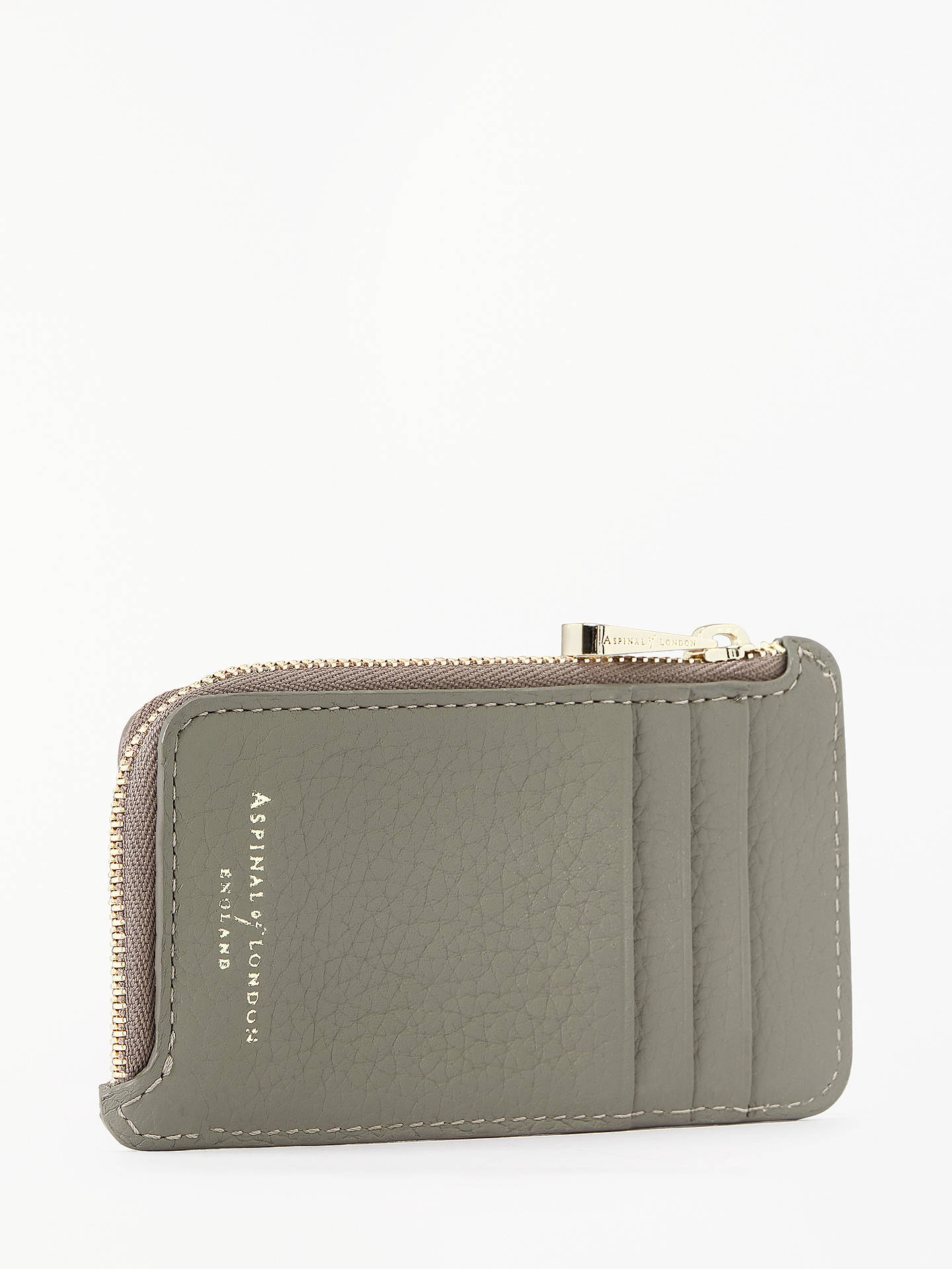 BuyAspinal of London Leather Zipped Coin Purse, Warm Grey Online at johnlewis.com