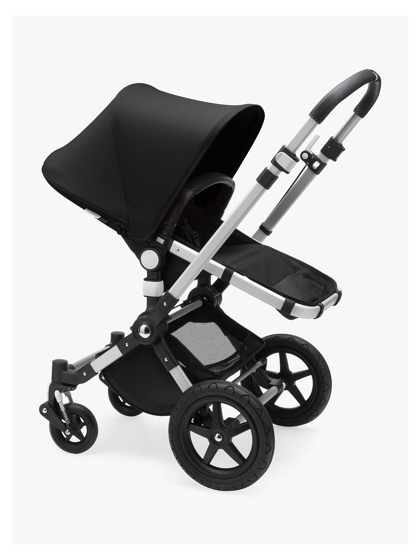 Buy Bugaboo Cameleon3 Plus Complete Pushchair and Carrycot, Aluminium/Black with Black Sun Canopy Online at johnlewis.com