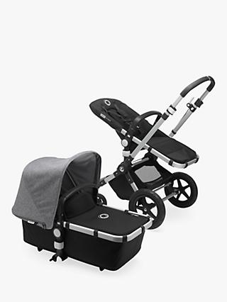 Bugaboo Cameleon3 Plus Complete Pushchair and Carrycot, Aluminium/Black with Grey Melange Sun Canopy