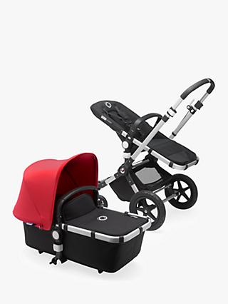 Bugaboo Cameleon3 Plus Complete Pushchair and Carrycot, Aluminium/Black with Neon Red Sun Canopy