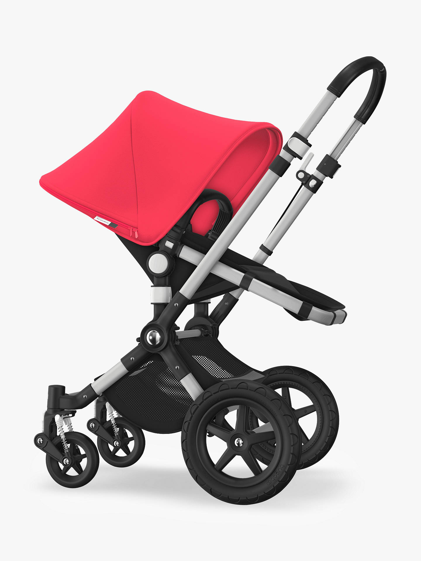 Buy Bugaboo Cameleon3 Plus Complete Pushchair and Carrycot, Aluminium/Black with Neon Red Sun Canopy Online at johnlewis.com