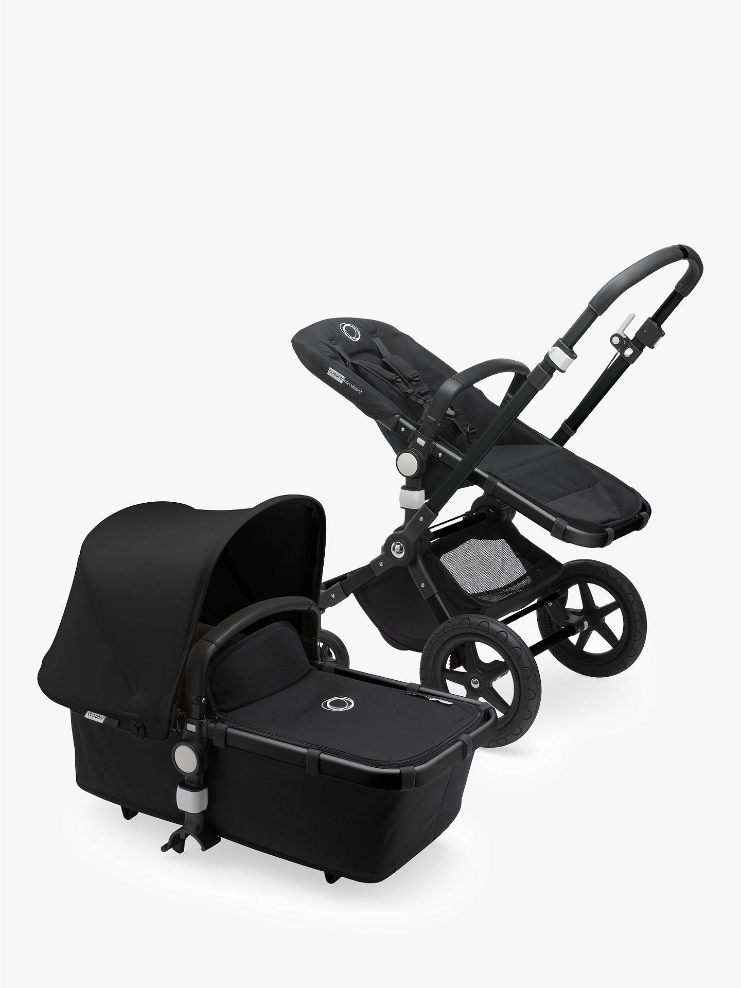 Buy Bugaboo Cameleon3 Plus Complete Pushchair and Carrycot, Black/Black with Black Sun Canopy Online at johnlewis.com