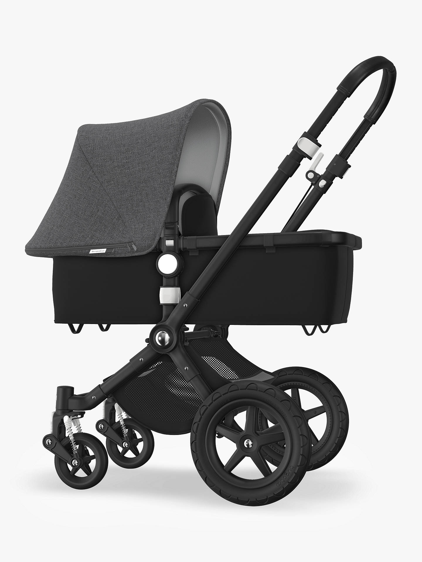 Bugaboo Cameleon 3 >> Bugaboo Cameleon3 Plus Complete Pushchair And Carrycot Black Black With Grey Melange Sun Canopy