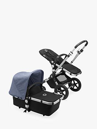 Bugaboo Cameleon3 Plus Complete Pushchair and Carrycot, Aluminium/Black with Blue Melange Sun Canopy