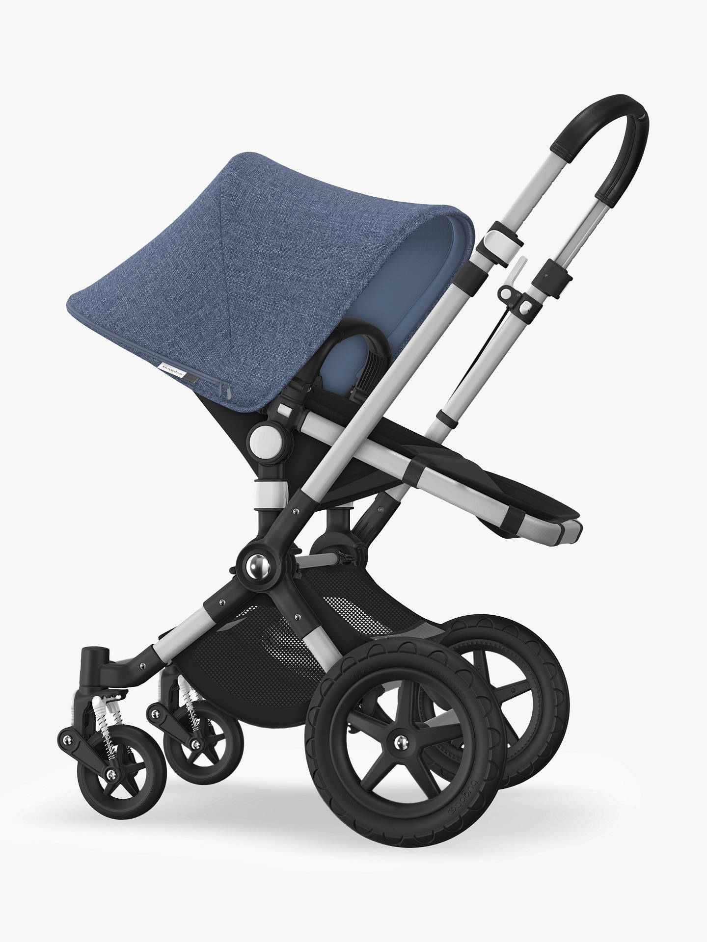 BuyBugaboo Cameleon3 Plus Complete Pushchair and Carrycot, Aluminium/Black with Blue Melange Sun Canopy Online at johnlewis.com