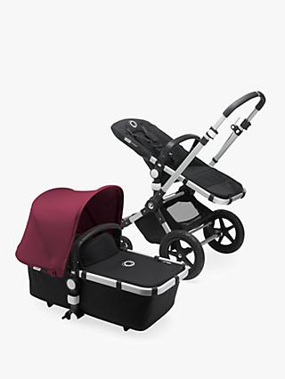 Bugaboo Cameleon3 Plus Complete Pushchair and Carrycot, Aluminium/Black with Ruby Red Sun Canopy