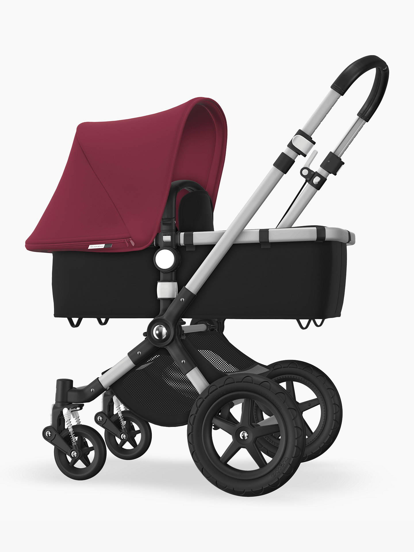 BuyBugaboo Cameleon3 Plus Complete Pushchair and Carrycot, Aluminium/Black with Ruby Red Sun Canopy Online at johnlewis.com