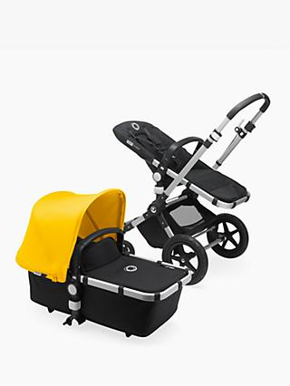 Bugaboo Cameleon3 Plus Complete Aluminium/Black Pushchair and Carrycot with Yellow Sun Canopy