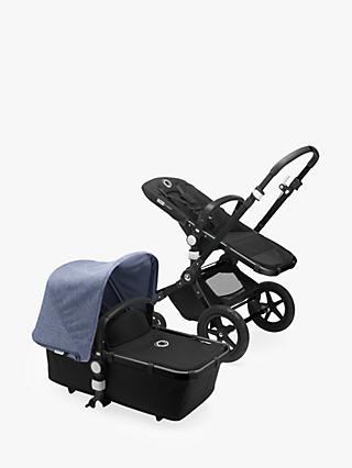 Bugaboo Cameleon3 Plus Complete Pushchair and Carrycot, Black/Black with Blue Melange Sun Canopy