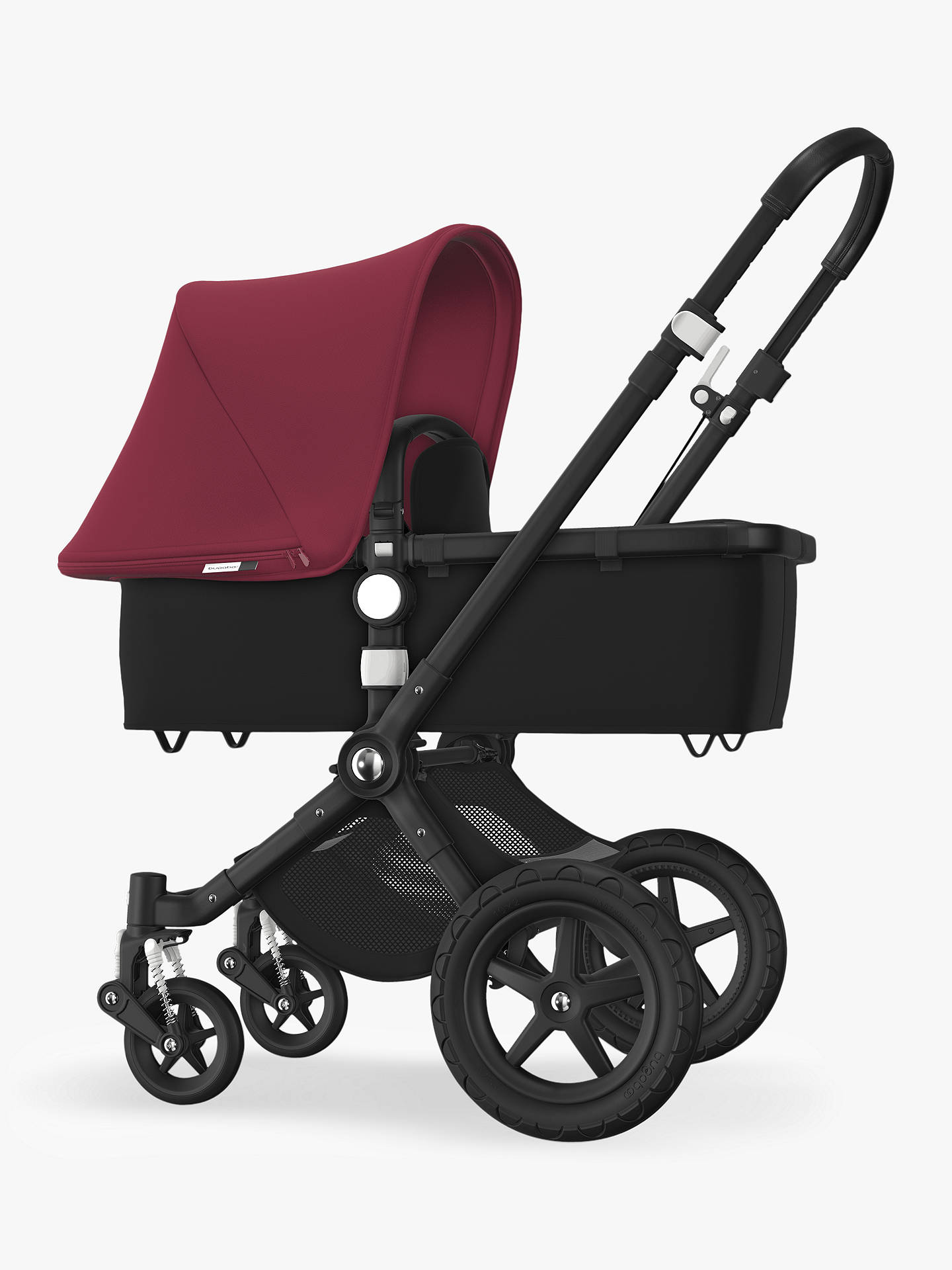 BuyBugaboo Cameleon3 Plus Complete Pushchair and Carrycot, Black/Black with Ruby Red Sun Canopy Online at johnlewis.com