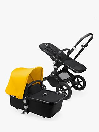 Bugaboo Cameleon3 Plus Complete Pushchair and Carrycot, Black/Black with Yellow Sun Canopy