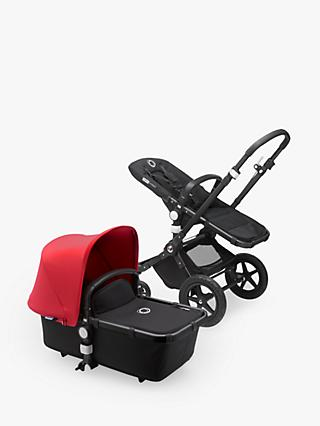 Bugaboo Cameleon3 Plus Complete Pushchair and Carrycot, Black/Black with Neon Red Sun Canopy