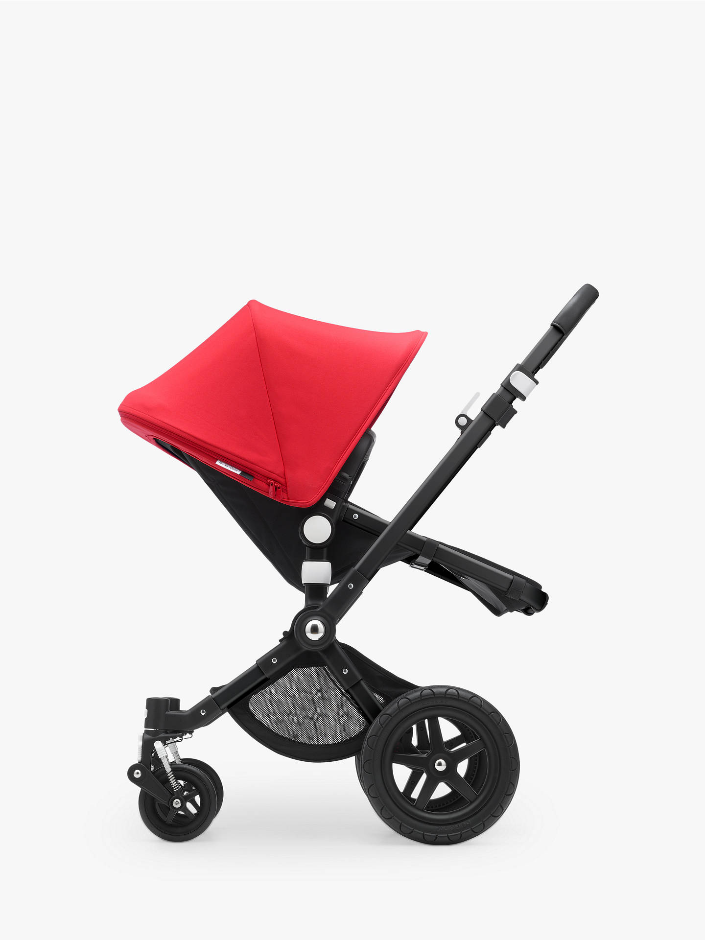 Buy Bugaboo Cameleon3 Plus Complete Pushchair and Carrycot, Black/Black with Neon Red Sun Canopy Online at johnlewis.com