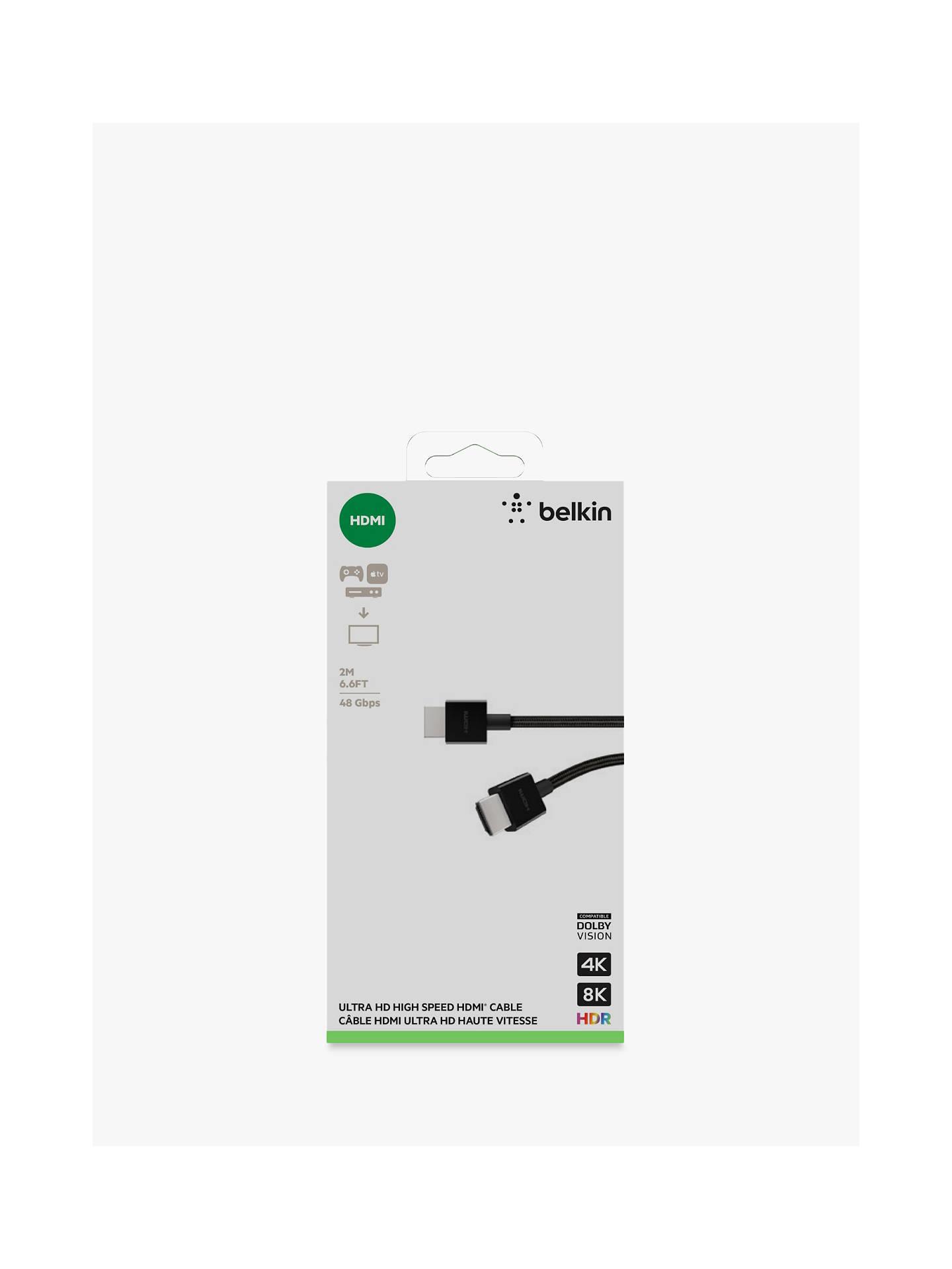 belkin hdmi 2.1  Belkin 4K HDMI 2.1 Cable, 2m, Black at John Lewis & Partners