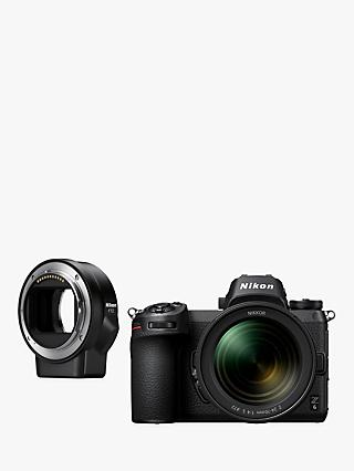 "Nikon Z6 Compact System Camera with 24-70mm Lens, 4K UHD, 24.5MP, Wi-Fi, Bluetooth, OLED EVF, 3.2"" Tiltable Touch Screen & FTZ Mount Adapter"