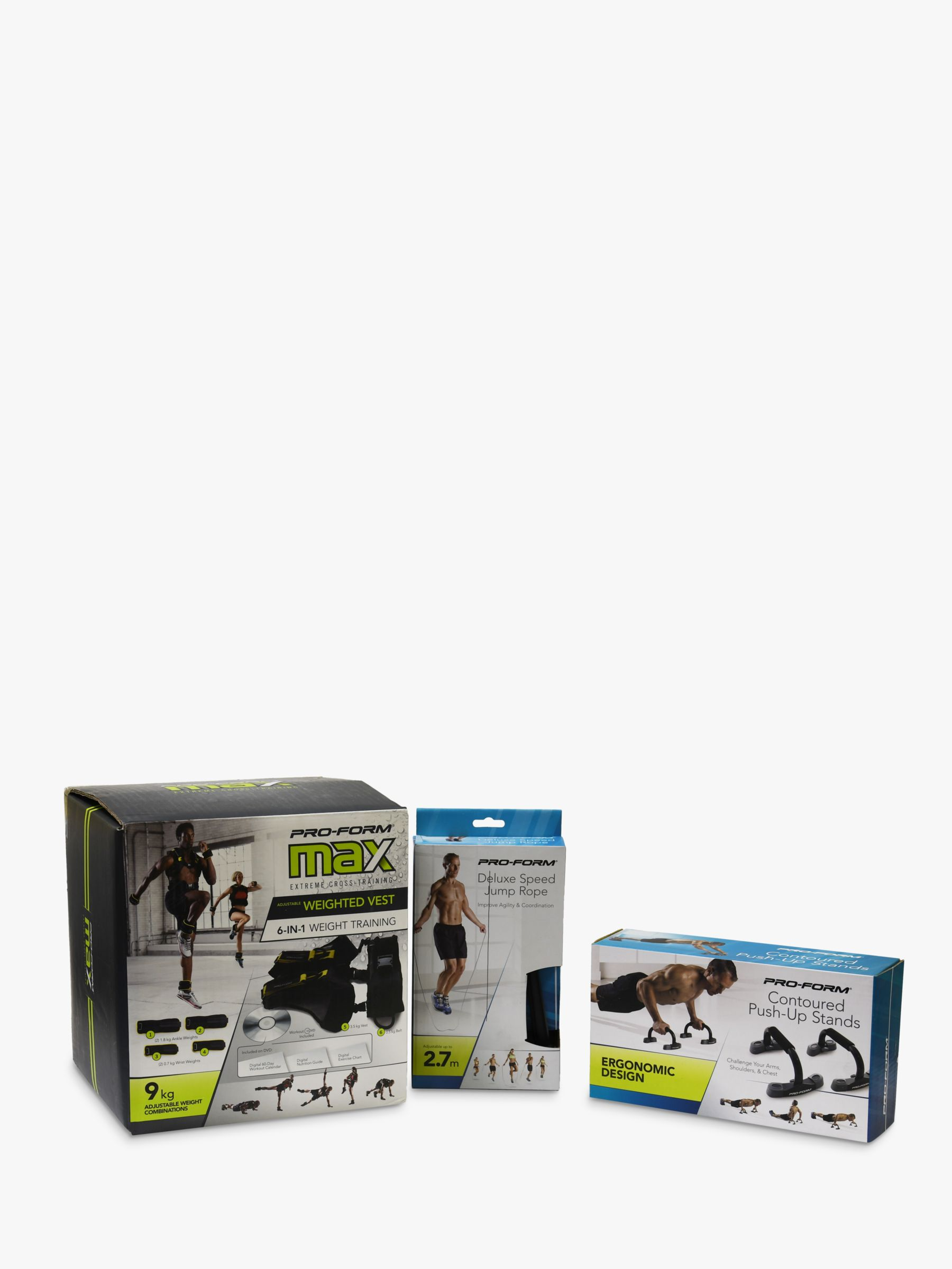 ProForm ProForm Weighted Vest, Contoured Push Up Stand & Speed Rope Set