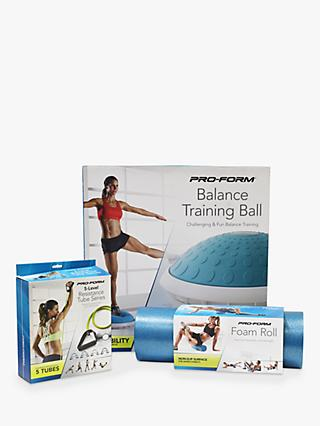 "ProForm Balance Ball, 18"" Foam Roll, 5-Level Resistant Tube Kit & Fitness Mat"