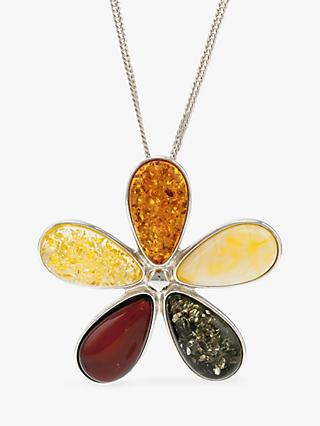 Be-Jewelled Amber Flower Pendant Necklace, Multi