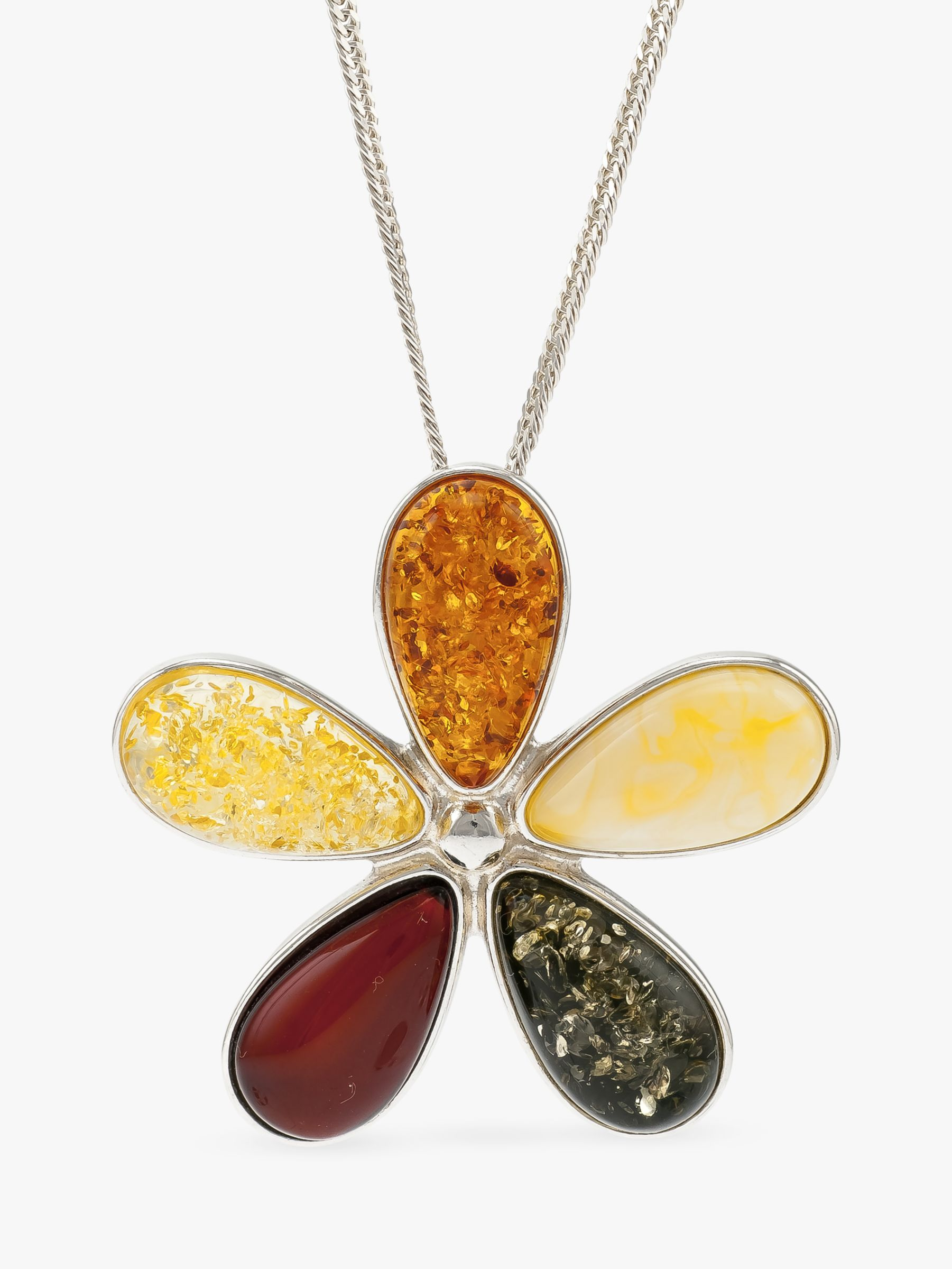Be-Jewelled Be-Jewelled Amber Flower Pendant Necklace, Multi