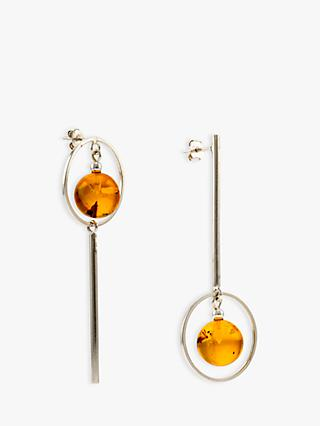 Be-Jewelled Amber Oval Bar Drop Earrings, Silver/Cognac