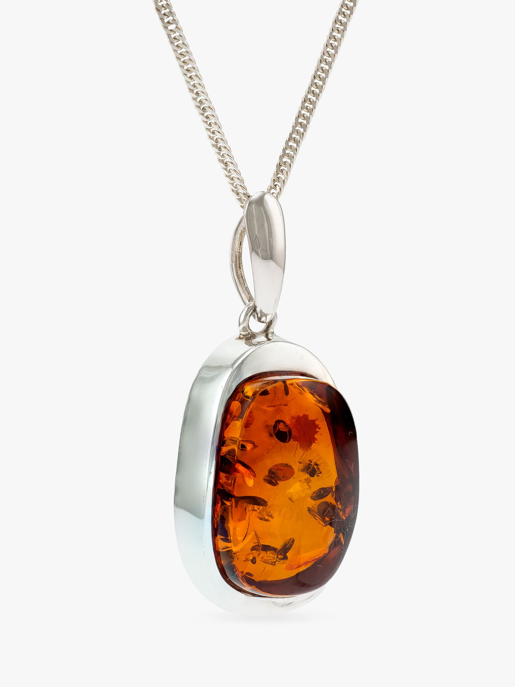 Be-Jewelled Be-Jewelled Oblong Amber Pendant Necklace, Silver/Cognac
