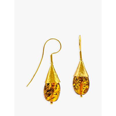 Be-Jewelled Amber Hook Cone Drop Earrings, Gold/Cognac