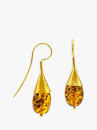 Be-Jewelled Amber Hook Cone Drop Earrings, Gold/Cognac