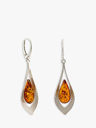 Be-Jewelled Baltic Amber Teardrop Statement Drop Earrings, Cognac/Silver