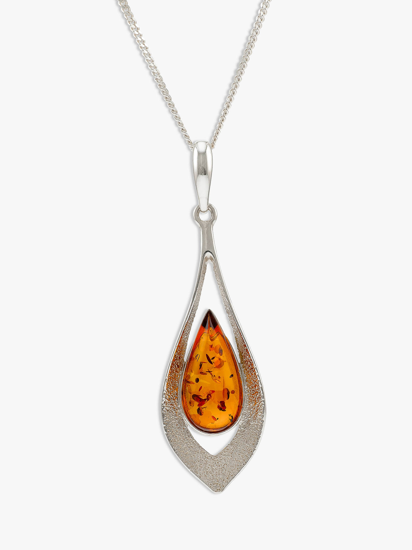 BuyBe-Jewelled Amber Teardrop Pendant Necklace, Cognac Online at johnlewis.com