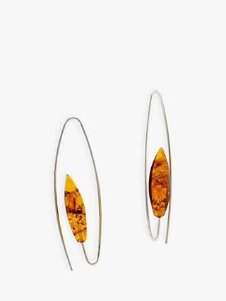 Be-Jewelled Amber Oval Hook Drop Earrings, Silver/Cognac
