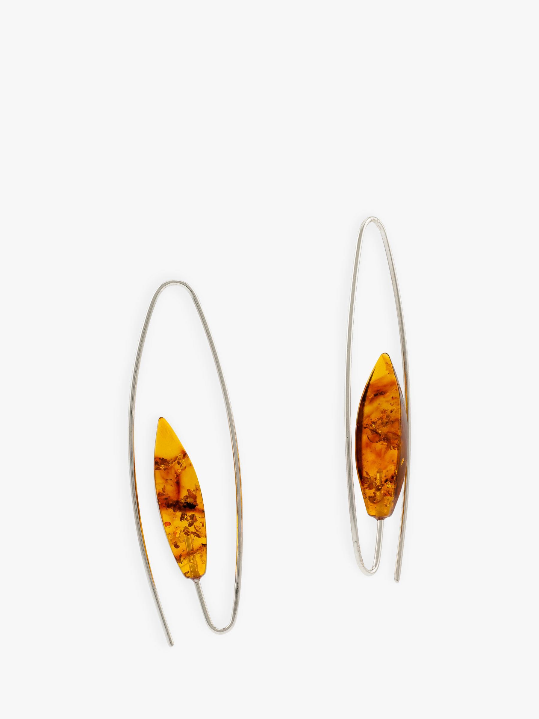 Be-Jewelled Be-Jewelled Amber Oval Hook Drop Earrings, Silver/Cognac
