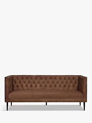 Halo William Large 3 Seater Leather Sofa, Napinha Chocolate