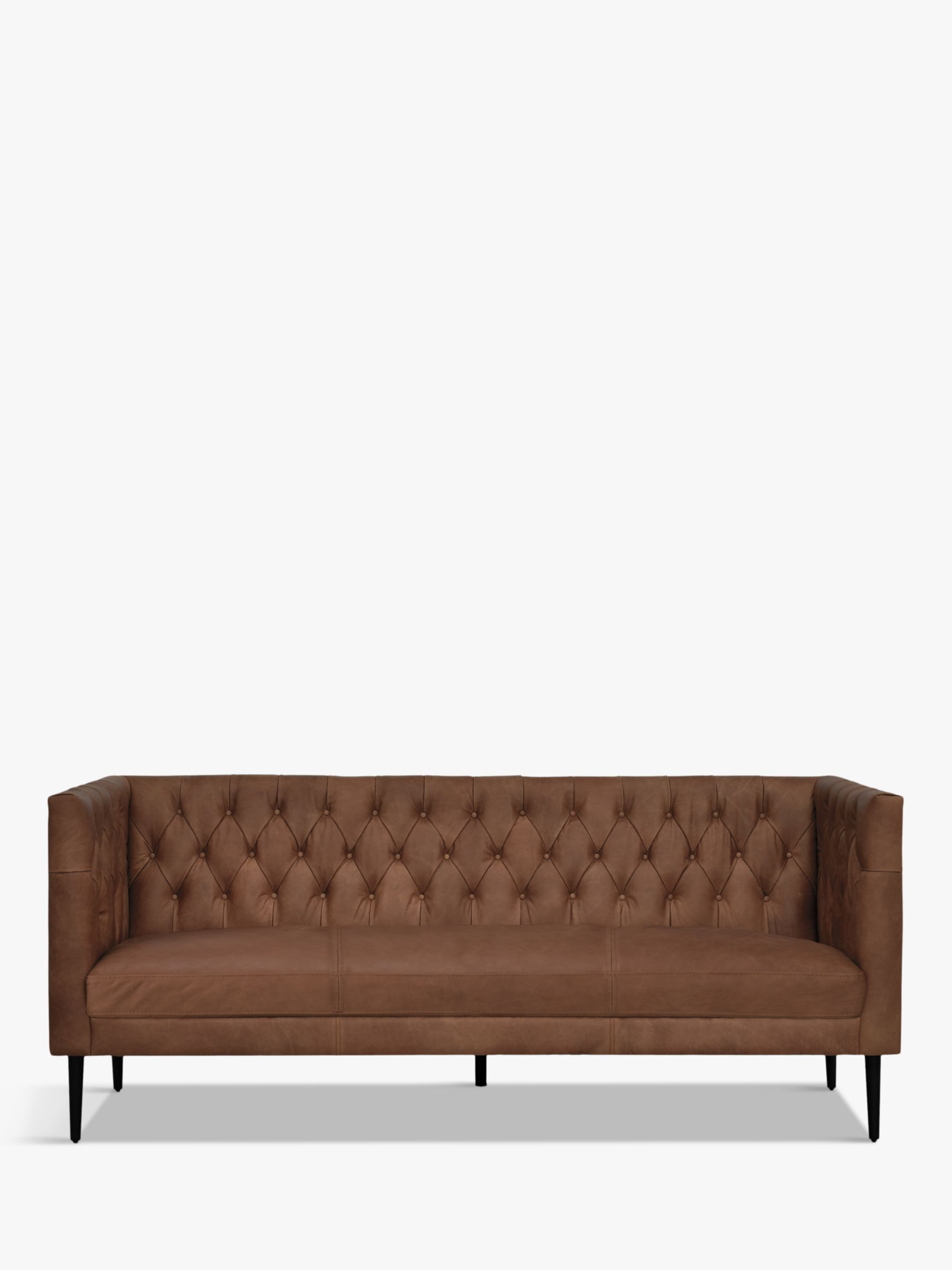 Halo Halo William Large 3 Seater Leather Sofa, Natural Washed Chocolate
