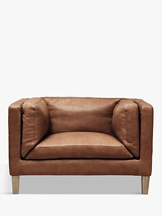 Halo Spencer Leather Armchair, Natural Washed Camel