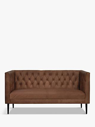Halo William Medium 2 Seater Leather Sofa, Napinha Chocolate
