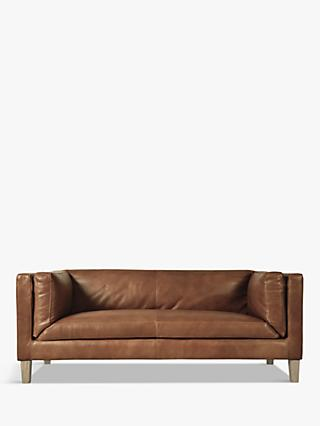 Halo Spencer Medium 2 Seater Leather Sofa, Natural Washed Camel