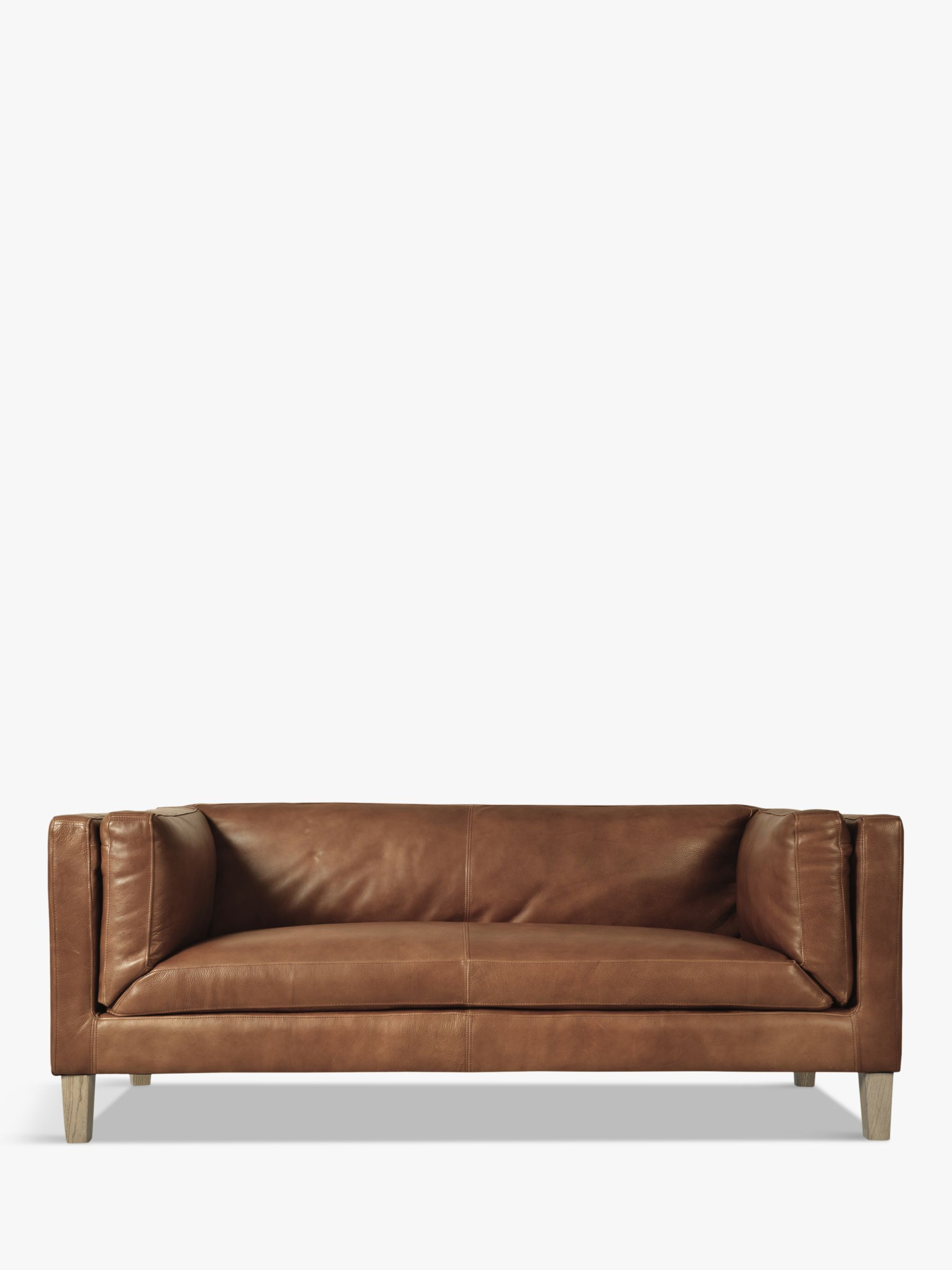 Halo Halo Spencer Medium 2 Seater Leather Sofa, Natural Washed Camel