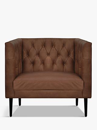 Halo William Leather Armchair, Napinha Chocolate