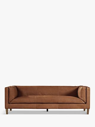 Spencer Range, Halo Spencer Large 3 Seater Leather Sofa, Natural Washed Camel