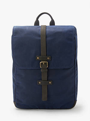 Buy John Lewis & Partners Keswick Waxed Cotton Backpack, Navy Online at johnlewis.com