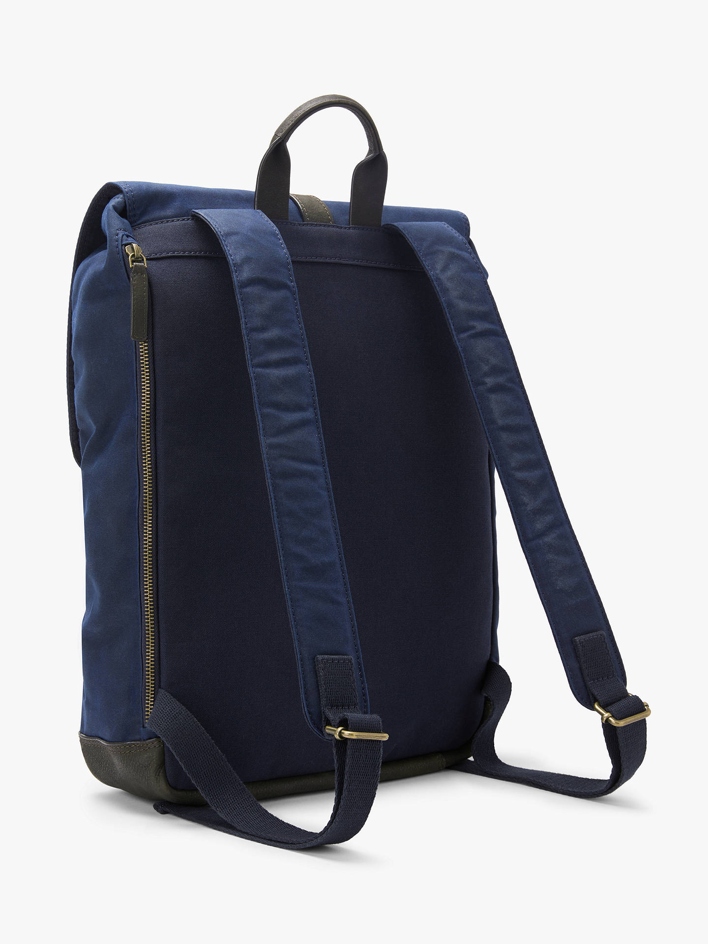 a21f4311f9af John Lewis & Partners Keswick Waxed Cotton Backpack, Navy