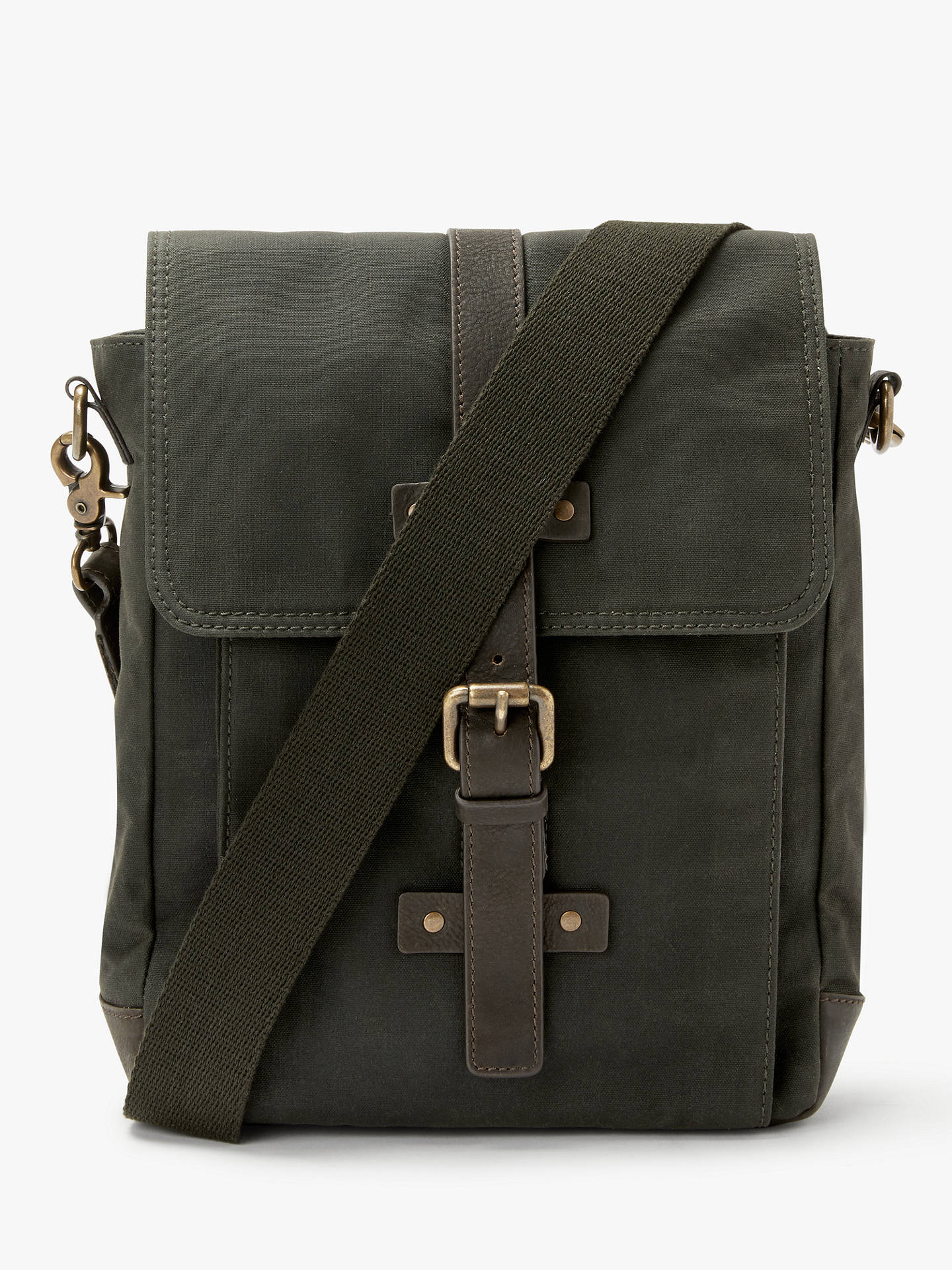 Buy John Lewis & Partners Keswick Waxed Cotton Reporter Bag, Olive Online at johnlewis.com