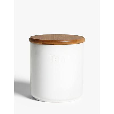 John Lewis & Partners Ceramic Tea Storage Jar with Bamboo Lid, White