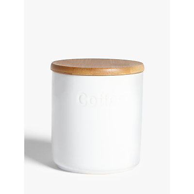 John Lewis & Partners Ceramic Coffee Storage Jar with Bamboo Lid, White