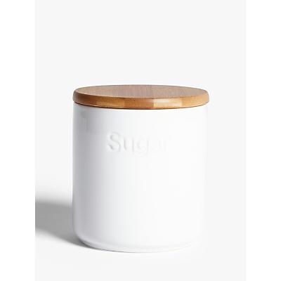 John Lewis & Partners Ceramic Sugar Storage Jar with Bamboo Lid, White
